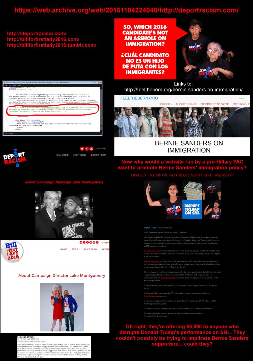 Hillary clinton behind deport racsim website - frames bernie sanders